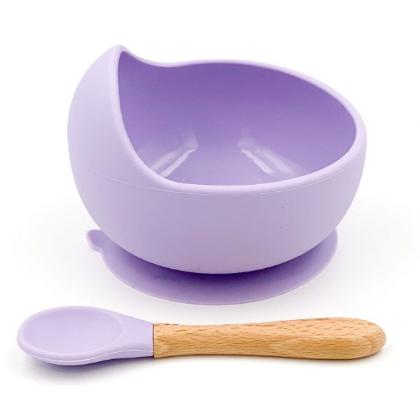 Silicone Suction Bowl and Spoon Set Lilac