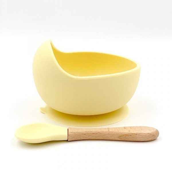 Silicone Suction Bowl and Spoon Set Yellow