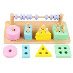Shape Sorting Puzzle and Abacus – Pastel Colours