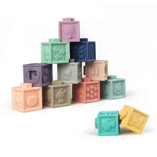 Silicone Stacking Blocks - Set of 12