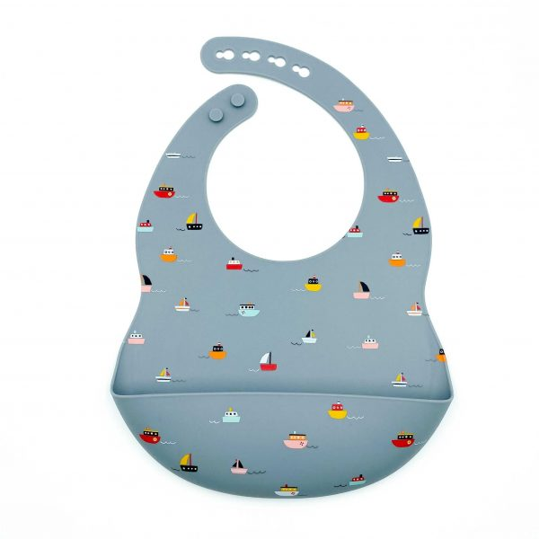 Patterned Silicone Bibs Ships Ahoy