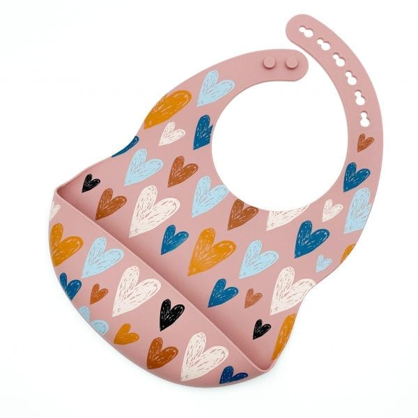 Patterned Silicone Bibs Love Struck