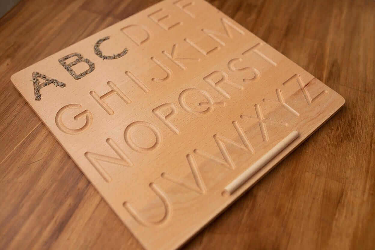 ABCD wooden boards